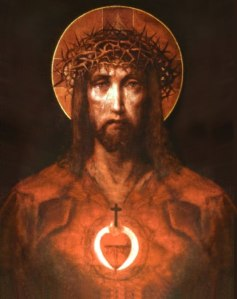 sacred-heart-of-jesus with a pair of flame within it
